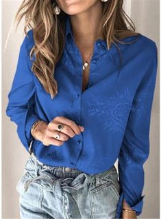 [£ Print Floral Lapel Long Sleeves Button Up Casual Shirt Blouses - VeryVoga Lace Sleeves, Shirt Sleeves, Floral Pants, Animal Print Dresses, Shirt Blouses, Spring Summer Fashion, Casual Shirts, Clothes For Women, Female Tops