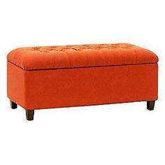 HomePop Storage Entryway Bench Color: Orange / Red