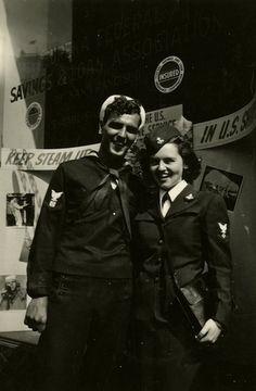 Josette Dermody, WAVE, and her sailor-beau Blackie, c. 1945.