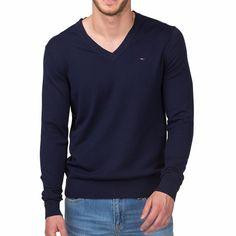 Pull Tommy Hilfiger homme modèle Timber bleu marine col V
