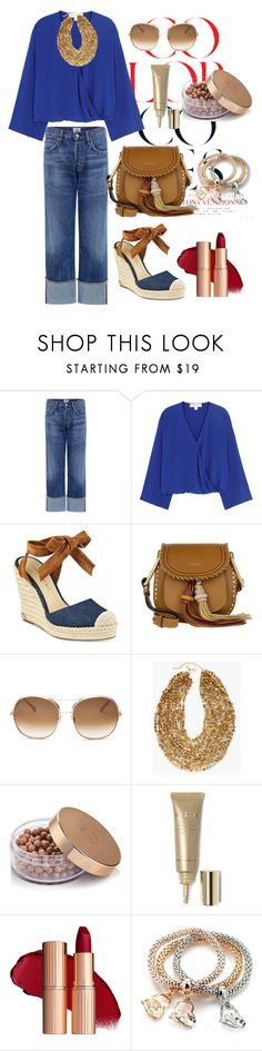 """""""Blue and Khaki tones"""" by regina-eghie ❤ liked on Polyvore featuring Citizens of Humanity, Diane Von Furstenberg, Ivanka Trump, Chloé, Chico's and Stila"""