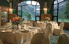 chateau lake louise, banff Glorious meals sitting in front of these fabulous windows.