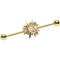 Clear Gem White Faux Opal Gold Anodized Burst Industrial Barbell 38mm | Body Candy Body Jewelry