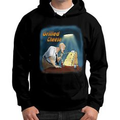 "WordPlay ""Grilled Cheese"" Gildan Hoodie (on man) designed by Neal Fox & Ron Kule"