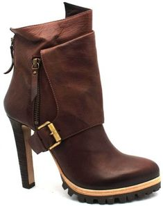 "Vic Matie ""6154"" Brown Leather High Heel Bootie"