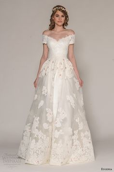 eugenia couture fall 2016 bridal off the shoulder lace bodice floral applique full overskirt sheath wedding dress style sasha