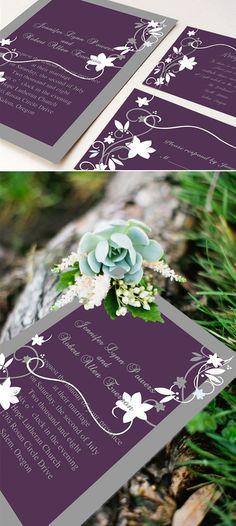 purple and gray rustic wedding invitations