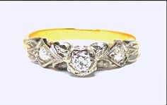 This Gorgeous Hand Assembled 3 Diamond Engagement/Dress Ring is Illusion Set with a Beautiful Early Brilliant Cut Diamond and 2 Old Native FOR SALE $900