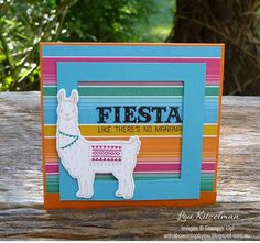 handmade card from With a bow on top ... Fiesta ... llama ... bright colors ... open frame panel ... Stampin' Up!