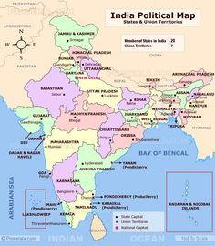 Detailed Map of India. India Map with States and Union Territories. India Political Map Showing state capitals, state boundaries and international boundaries. Gernal Knowledge, General Knowledge Facts, Monument In India, World Political Map, Spatial Analysis, States And Capitals, Geography Map, History Of India, Asian History
