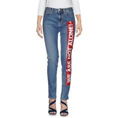 Love Moschino Denim Trousers (7.580 RUB) ❤ liked on Polyvore featuring pants, blue, slim fit pants, slim pants, blue trousers, denim zipper pants and multi pocket pants