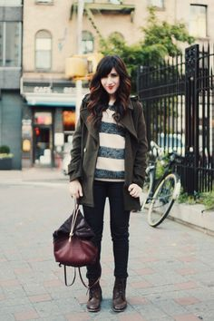 black skinny jeans, green and white striped shirt, dark green jacket, black boots