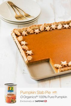 Spread even more holiday cheer with this Pumpkin Slab Pie recipe, made in just a matter of minutes. Get O Organics® 100% Pure Pumpkin exclusively at Safeway and craft this delicious baked dessert completely from scratch. The flakey and flavorful crust only calls for four ingredients—unsalted butter, cream cheese, flour and salt, making it as easy to make as it is to enjoy!