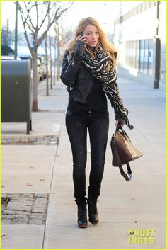 bundling up in a cute Theodora & Callum scarf while out in Cambridge, Mass. #blakelively