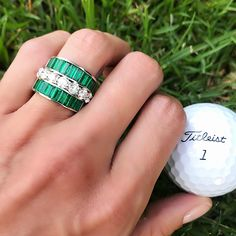 The Fairways are looking especially green today ... 💚💎 ⛳️Our Classic Emerald Baguette Band Is handmade with the highest quality emeralds; handset in 18 karat gold. Looks stunning when paired with our large Diamond Eternity Band.
