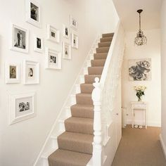 "Staircase,hallway  ** ""I like the beige carpeting on white staircase effect."""