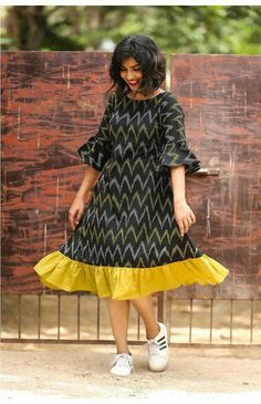 Black Ikat Zig Zag Ruffled Dress is part of Kalamkari dresses - Casual Cotton Ikkat Aline Dress with Ruffles and Bell Sleeve Long Gown Dress, Frock Dress, Saree Dress, Ruffle Dress, Middy Dress, Kalamkari Dresses, Ikkat Dresses, Frock Models, Indian Gowns Dresses