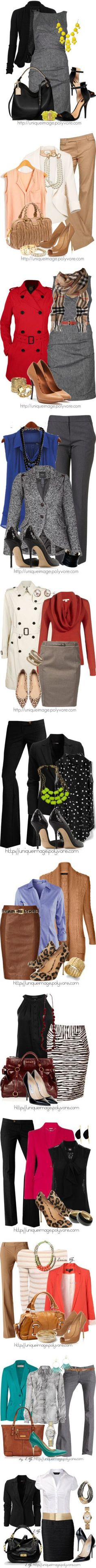 """Work Attire"" by uniqueimage on Polyvore  I like them all except the animal print ones. Too wild for me ;)"