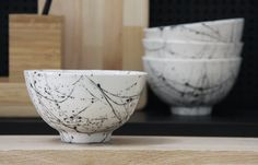 Ceramic bowl in white and black lines pattern. Great by ONEandMANY