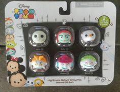 Disney Tsum Tsum Nightmare Before Christmas Seasonal Gift Pack - #09122 - Walgreen's Exclusive by Jakks Pacific – Featuring Jack, Sally, Zero, Shock, Lock, & Barrel. The set also features 2 Glow in the Dark Figures.