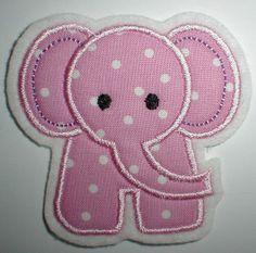 Aufnäher - rosa Elefant -  Applikation von STICKTRAUM auf DaWanda.com