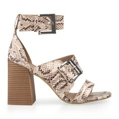 Natural Snake Double Buckle Sandal - Evening   YDE South African Fashion, Toe Shape, Block Heels, Open Toe, Heeled Mules, Snake, Shoes Sandals, High Heels, Footwear