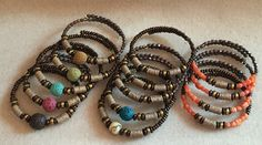 Memory wire bracelets (wood beads,lava rock,crystal beads,acrylic beads,cird beads)
