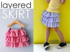 "Layered Skirt – MADE EVERYDAY by Dana...A tutorial for girls (and moms?) of all ages:his one is a layered/ruffled/tiered skirt. It's likely you've purchased or seen something similar in the store and wondered how to do it? Well it's easier than you thought. And after making one you can easily vary and mix it up. Add more tiers, add ""circle skirt"" strips instead of ruffles, use knit fabric, use the concept on a shirt. This is a good go-to pattern."