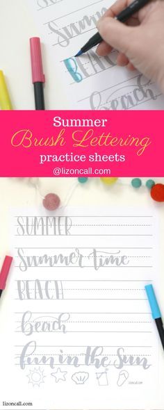 Brush Lettering Practice Sheet Practice your hand lettering while the kids are at the pool with this summer brush lettering practice sheet.Practice your hand lettering while the kids are at the pool with this summer brush lettering practice sheet. Lettering Practice Sheets, Brush Lettering Worksheet, Calligraphy Practice, Modern Calligraphy, Summer Calligraphy, Calligraphy Tutorial, Lettering Tutorial, Brush Letters, Bibel Journal