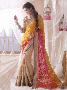 Cream Viscose Saree With Embroidery Work www.saree.com
