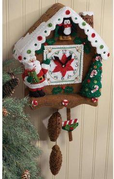 Christmas Time Clock Bucilla Felt Wall Hanging Kit # 86169 - FTH International Sales Ltd. Christmas Clock, Christmas Home, Christmas Holidays, Christmas Crafts, Christmas Ornaments, Country Christmas, Christmas Snowman, Christmas Trees, Applique Wall Hanging