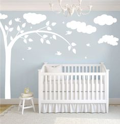 Wall Decal - white tree decal with clouds, butterflies & birds
