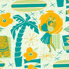 Mid-Century Tiki fabric by aimee on Spoonflower - custom fabric
