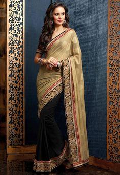 Elegant Beige & Black Saree