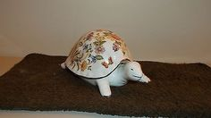 "Hard to Find Aynsley Fine China.""Cottage Garden""Large Turtle Trinket Box. Mint (03/22/2014)"
