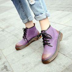 be7fe0cbe 2017 Британский стиль Фиолетовый Женщин сапоги, босоножки, ПУ кожи высокого  верха обуви размер 34 39 Лодыжки туфли на платформе Женской Обуви  Упаковочная ...