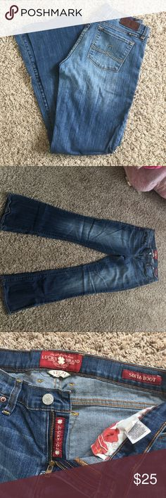 """Lucky Brand bootcut jeans Lucky Brand- Sofia bootcut jeans. Size 12, length-31"""". Medium wash. Very flattering cut. Looks great with ankle boots, wedges or even tennis shoes. Great condition. Lucky Brand Jeans Boot Cut"""