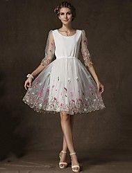 Incern®Women's Organza Floral Print Shrink Waist ... – USD $ 27.99