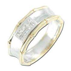0.23 Carat Princess Diamond 14K TWO TONE Gold Women Rings 4.01g: Ring Size: 7 (Sizable)