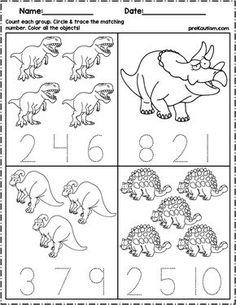 Dinosaur account and number writing - Preschool Activities Dinosaur Worksheets, Dinosaur Theme Preschool, Dinosaur Activities, Numbers Preschool, Free Preschool, Kids Learning Activities, Kindergarten Worksheets, Kindergarten Prep, Writing Numbers