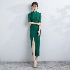 Sweet Green Lace Chinese Dress Qipao Cheongsam - Qipao Cheongsam & Dresses - Women
