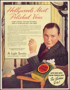 LUCKY STRIKE CIGARETTES. HOLLYWOOD'S MOST POLISHED VOICE. Date: 09/27/1937