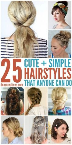 Cute Hairstyles Long Hair DIY - hairstyles: simple hairstyles for long hair that anyone can do! Nurse Hairstyles, Cute Simple Hairstyles, Easy Hairstyles For Medium Hair, Medium Long Hair, Diy Hairstyles, Medium Hair Styles, Curly Hair Styles, Stylish Hairstyles, Hairstyle Ideas