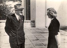 Berghof, Germany: Adolf Hitler and Eva Braun talking.