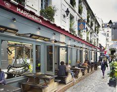 Fachada de restaurante italiano Margherita en París.