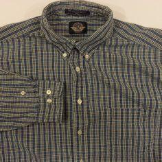 7d59b70600 Levis Dockers Indigo Blue Plaid Shirt Mens Size XL Casual 100% Cotton   DOCKERS  ButtonFront  Plaid