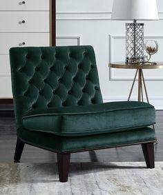 Loving this Green Tufted Velvet Accent Chair on #zulily! #zulilyfinds