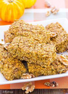 Pumpkin Protein Oat Bars | 22 Homemade Breakfast Bar Recipes by Homemade Recipes at http://homemaderecipes.com/healthy/22-homemade-breakfast-bar-recipes/