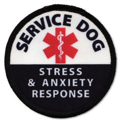 Service Dog Stress and Anxiety Response Medical Alert Patch Badge With Vecro Hook Choose Size and Color