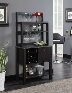 Newport Serving Bar in Faux Marble/Espresso - Convenience Concepts Newport Serving Bar from Convenience Concepts is the perfect entertaining piece for any modern home. Featuring storage for up to 9 wine bottles, and 3 hanging stemware racks, yo Hanging Wine Rack, Wine Racks, Ideas Hogar, Wine Cabinets, Wine Storage, Extra Storage, Storage Ideas, Contemporary Furniture, Decoration